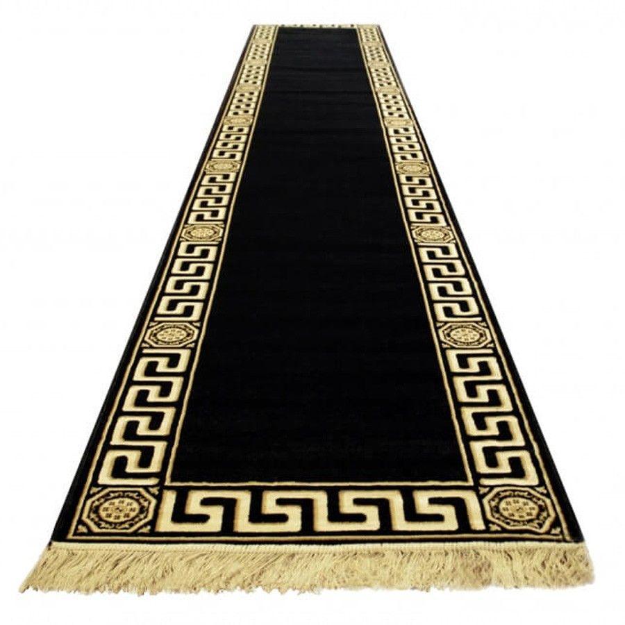 Laufer Black Versace Muster Design Schwarzer Teppich Teppich
