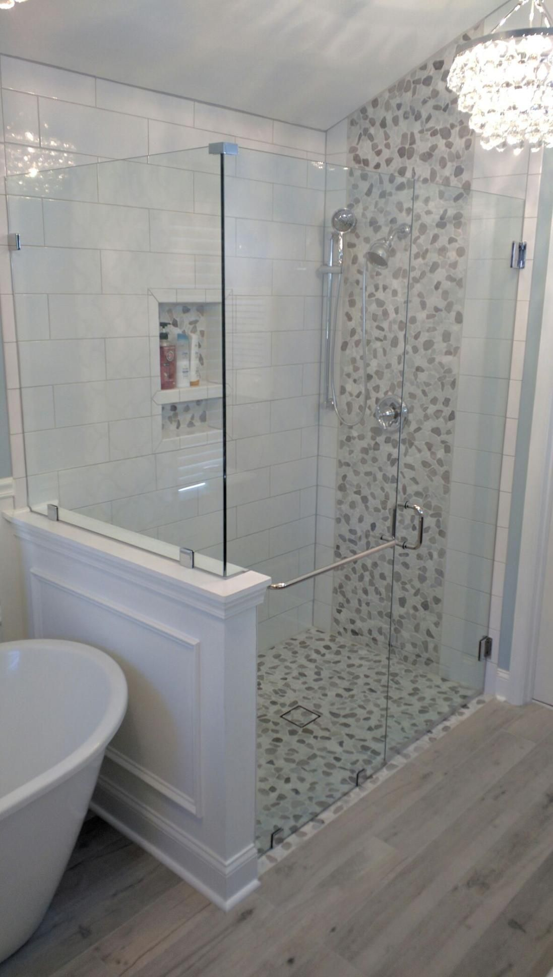 Carrera Pebbles Frameless Shower Glass Large White Subway Tile Curbless Shower Transition Bathroomshowertile Shower Stall Bathroom Tub Glass Bathroom