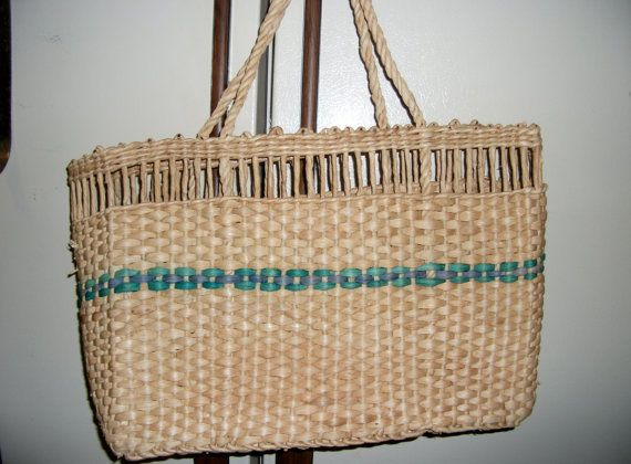 Vintage Woven Straw Tote Bag Purse Circa 1960s by SusOriginals, $5.00