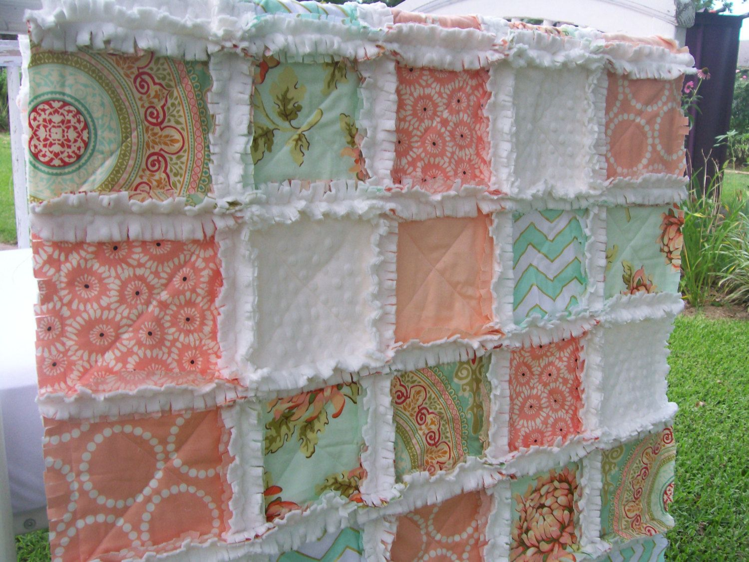 Baby girl bedding chevron - Crib Rag Quilt Peach Coral Minky Mint Aqua Chevron Shabby Chic Nursery Bedding Baby Girl Gift Metallic Glitz