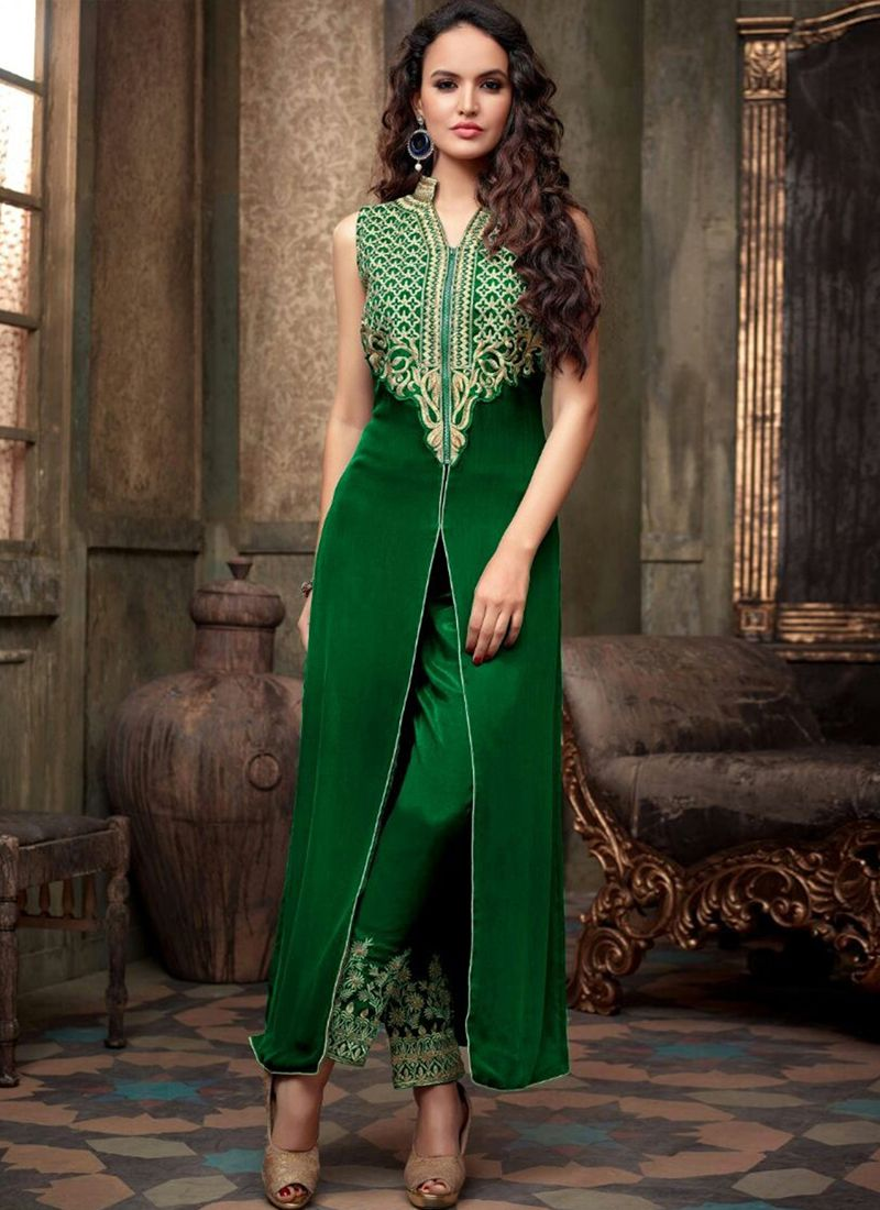 Cherish Green Coloured Georgette Embroidery Indian Designer Salwar ...