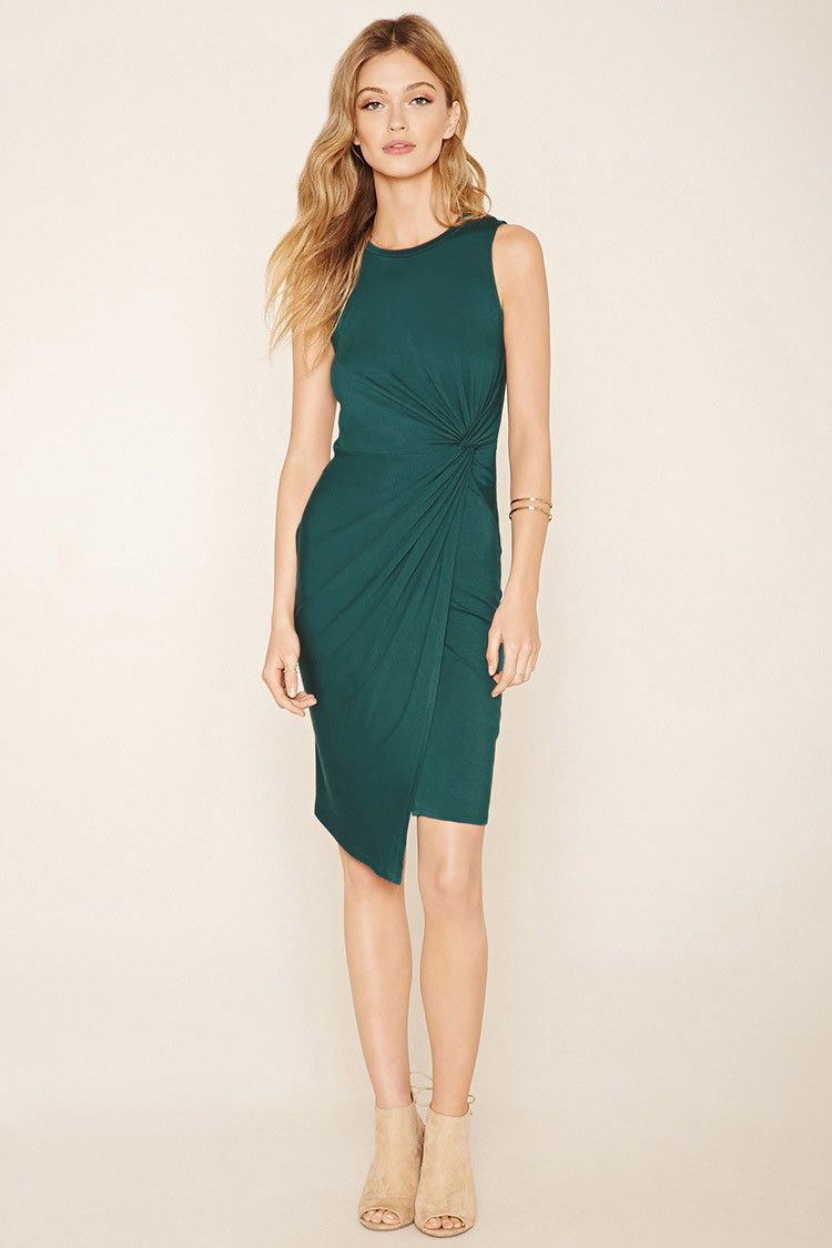 Forever 21 Contemporary - A sleeveless knit bodycon dress with a round neckline and a twisted front accent forming an asymmetrical hem.