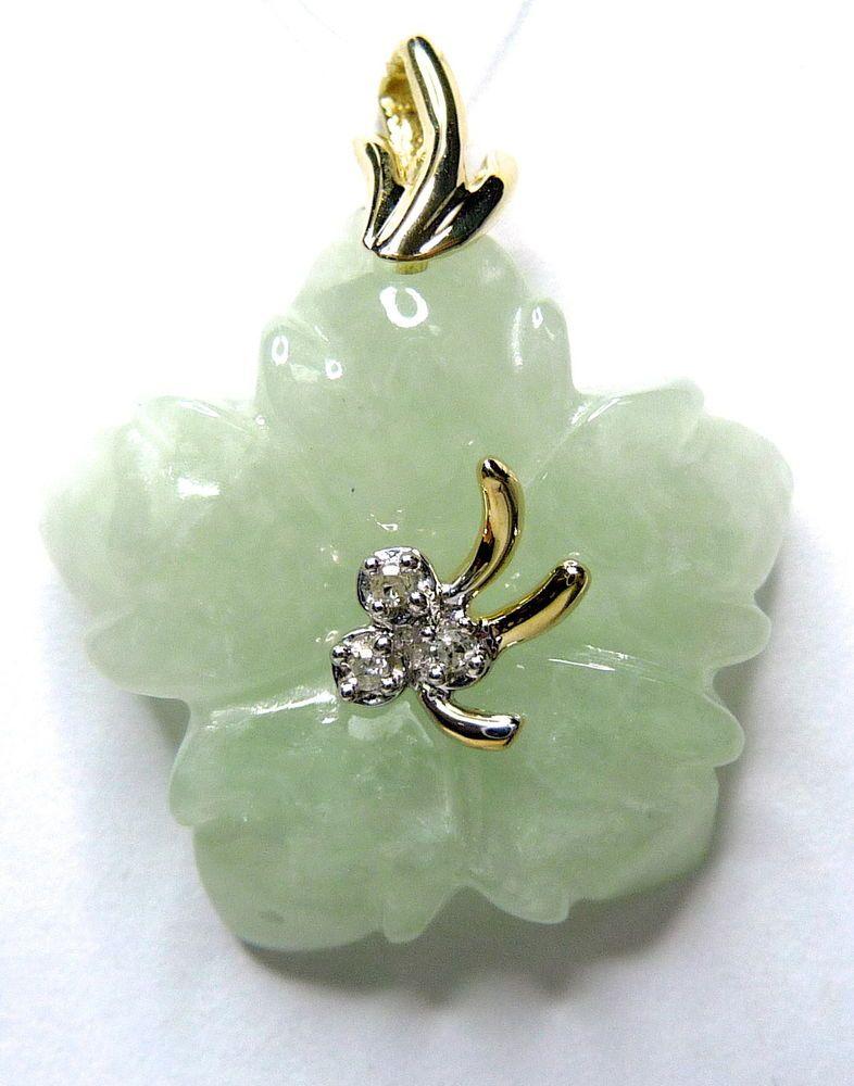 Women Natural Jadeite Flower Pendant Carved .02ctw Diamond in 10kY GV85270  #Pendant $125