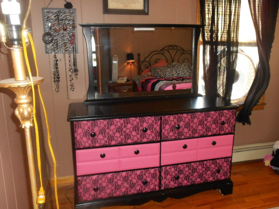This Dresser Was Originally All White Just Painted It Black Pink
