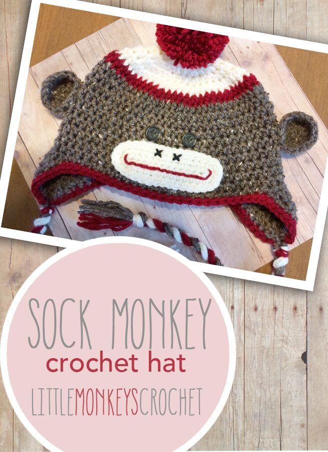 Magnífico Patrón De Crochet El Sombrero Del Mono Del Calcetín Adorno ...