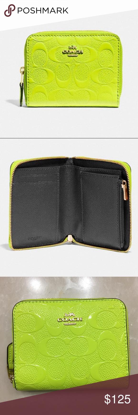 269eda79dd0b NWT COACH Signature Wallet Neon Yellow NWT COACH Small Zip Around Wallet In  Signature Leather NEON
