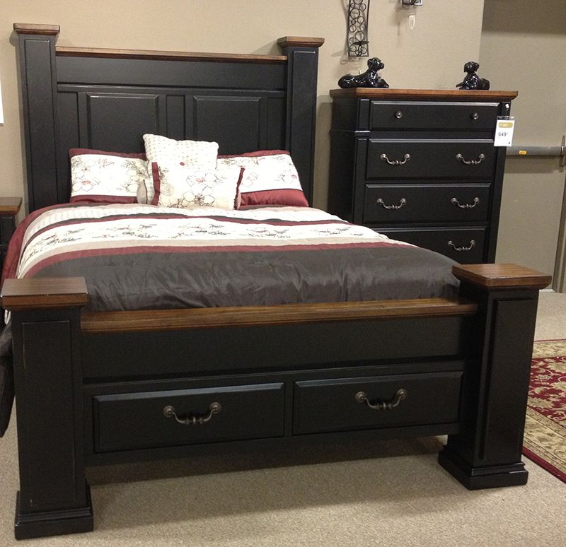 Breen poster bed made with acacia veneers and hardwood - Mattress made of balls ...