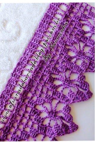 Outro Barrado Lilas Com Imagens Bicos De Croche Simples