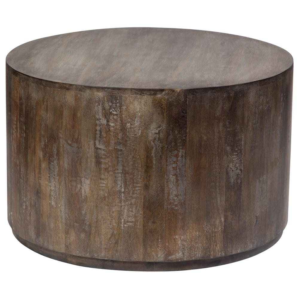 Porter Designs Gray Wash Mango Wood Round Drum Coffee Table