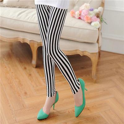 Vertical Stripes Leggings Pants NA01 #stripedleggings