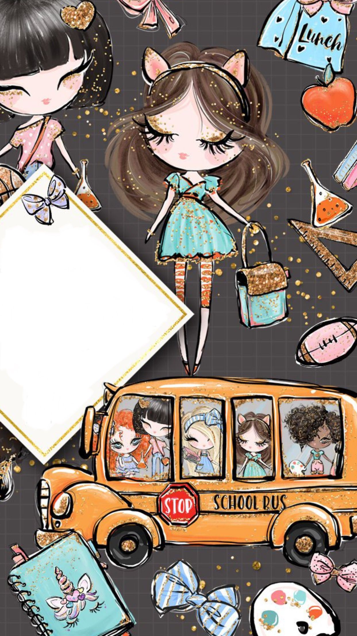 Girl Getting On Bus Illustration With Images Cute Wallpapers