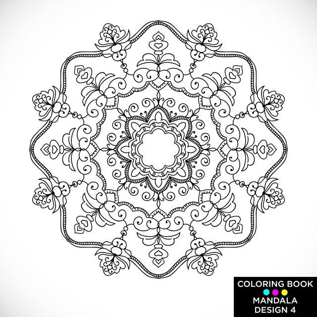 ماندالا جولة زخرفة نباتية معزولة عن الخلفية البيضاء المزخرفة عناصر التصميم أبيض وأسود مخطط ناقلات التوضيح كتاب تلوين الطباعة على القميص وغيرها من العناصر أبيض Mandala Coloring Books Coloring Books Floral