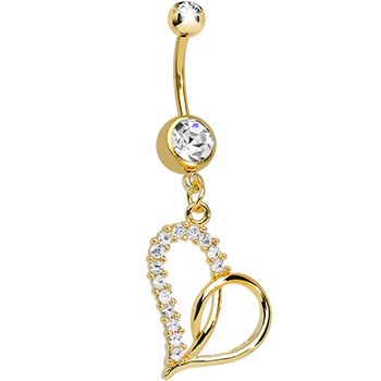 Gold Plated Clear Gem Swirling Hollow Heart Dangle Belly Ring