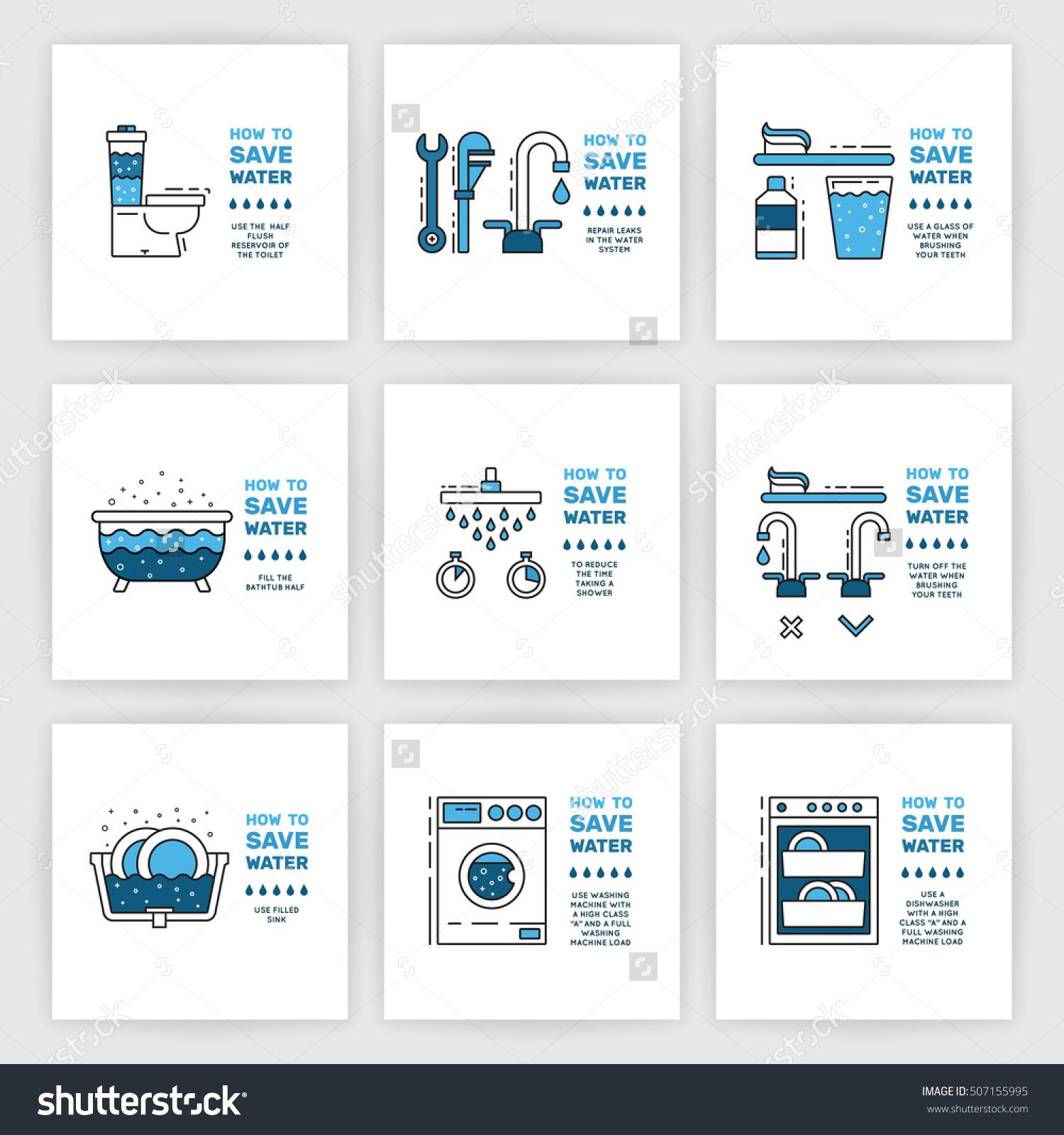 Illustration With Tips On Saving Water Consumption By Man In A