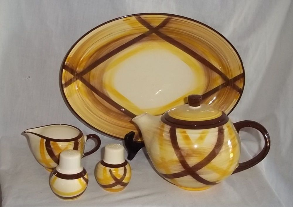Vernonware Metlox Organdie Yellow Brown Teapot Platter Creamer Salt Pepper #Vernonware & Vernonware Metlox Organdie Yellow Brown Teapot Platter Creamer Salt ...