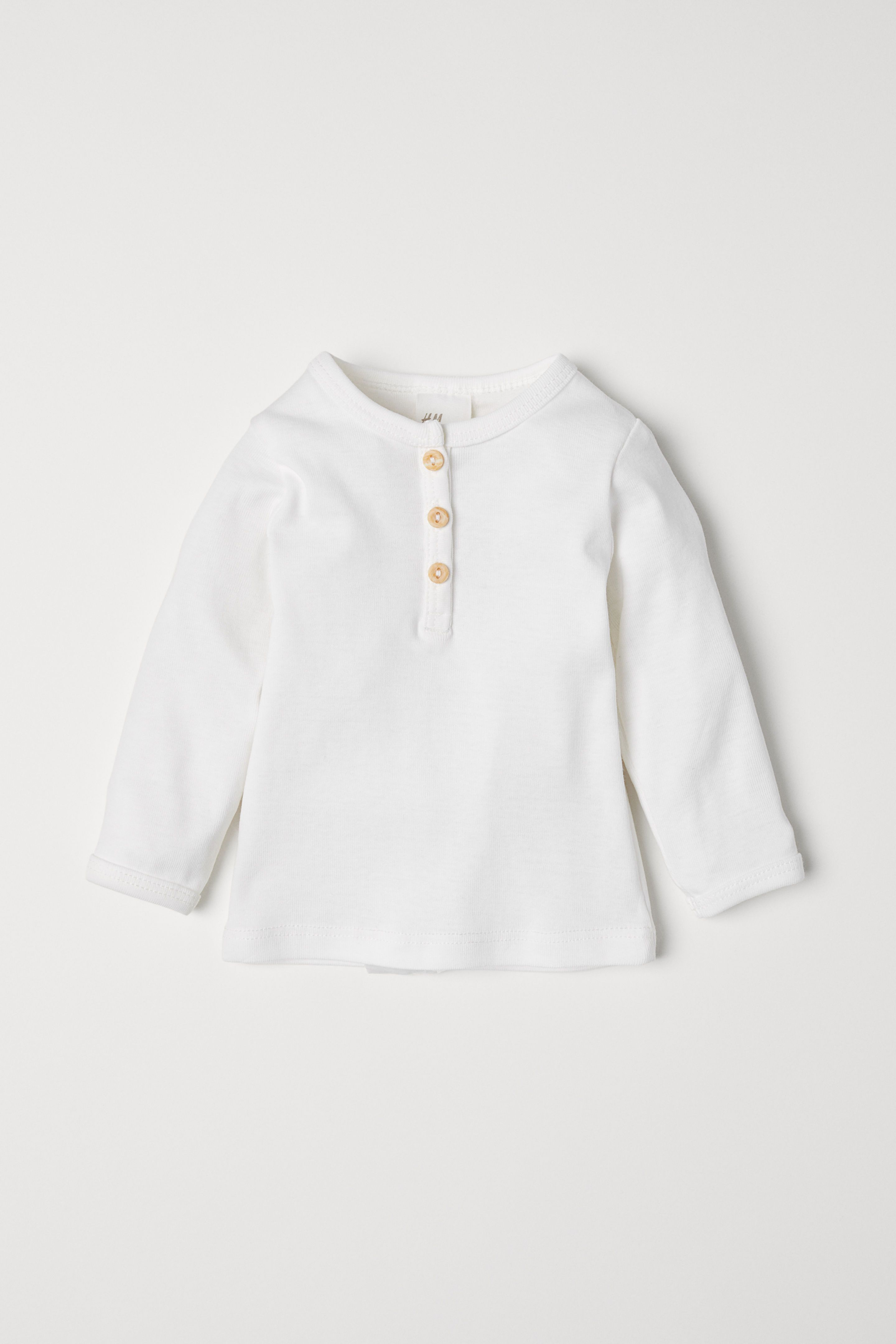 70653215fcd84 Cotton Henley Shirt - White -