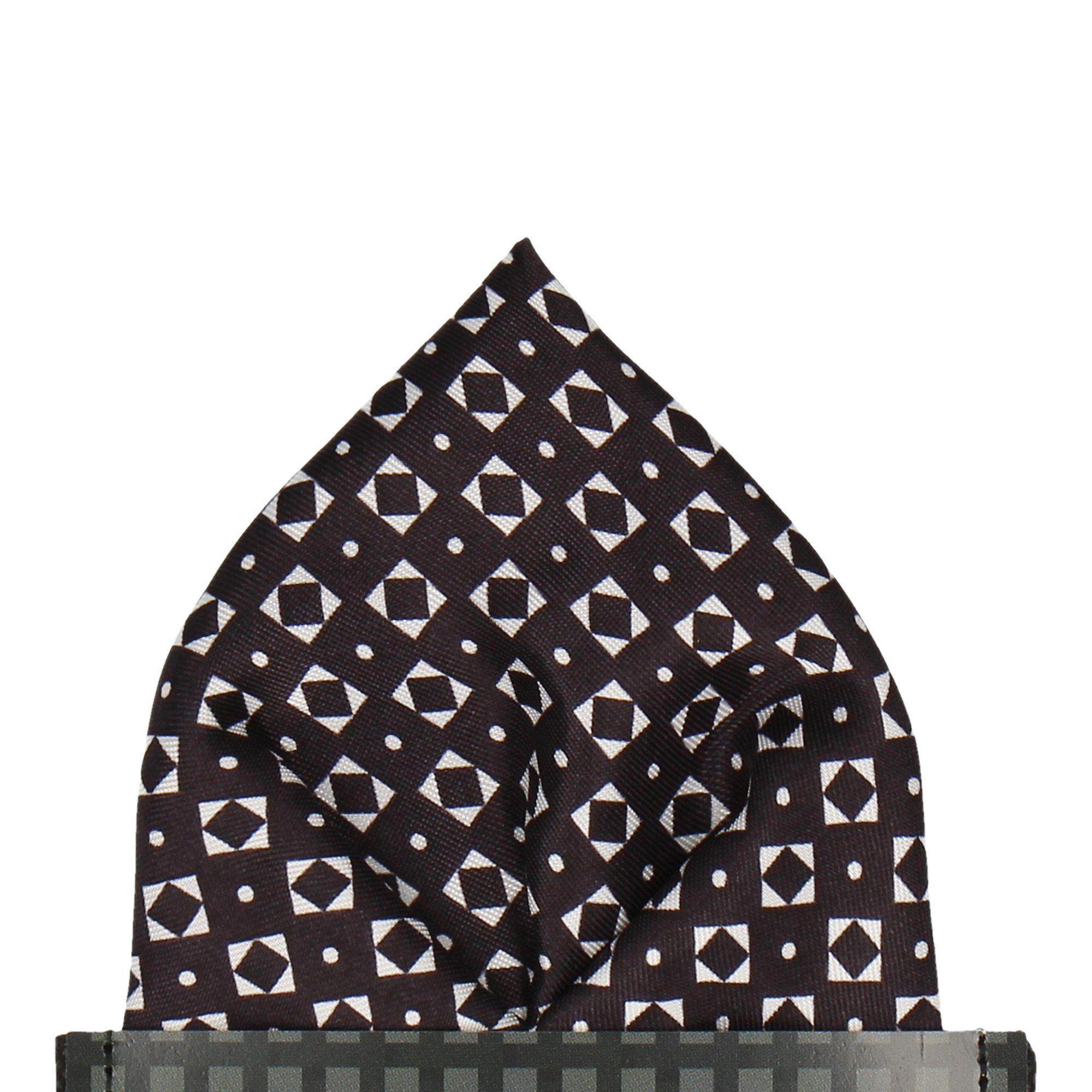 Retro Geometric Black & White Pocket Square