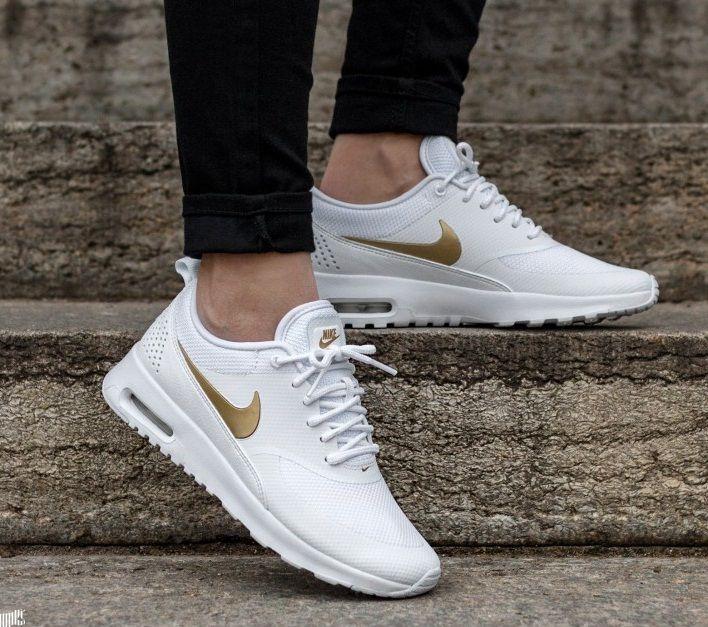 Nike Air Max Thea In White Metallic Gold | White nike shoes