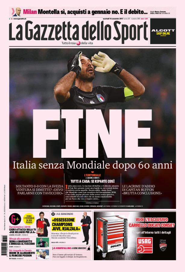 La prima pagina della Gazzetta dello Sport del 14/11/2017
