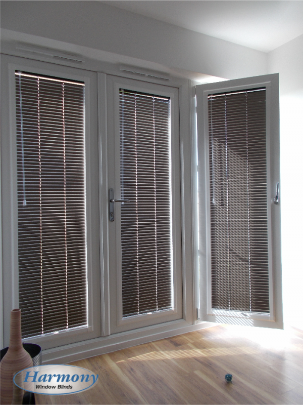 brown perfect fit venetian blinds on