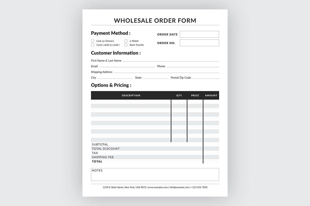 Wholesale Order Form Order Form Template Stationery Templates Templates