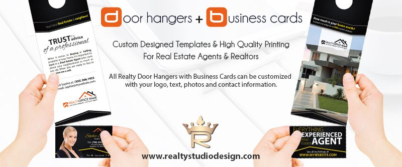 Real Estate Door Hanger Rip Cards Door Hangers Business Card Slits Real Estate Door Hangers Real Estate Marketing