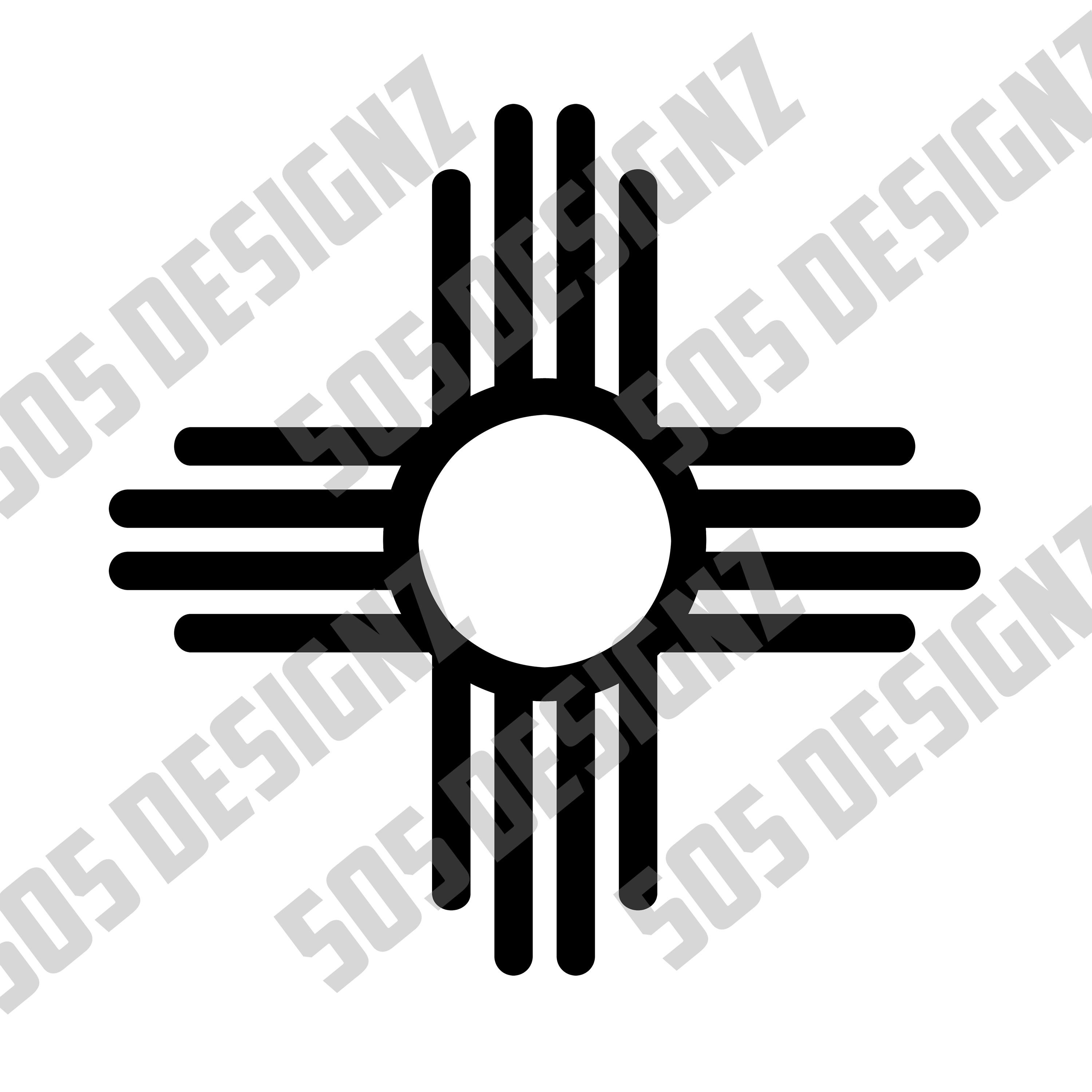 New Mexico State Flag Zia Symbol Svg Png Cricut Decal Etsy New Mexico State Flag State Flags Stencils