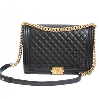 f79f71aa2c10 Chanel - CHANEL Large (Maxi) Le Boy - Black Lambskin with Gold H W ...