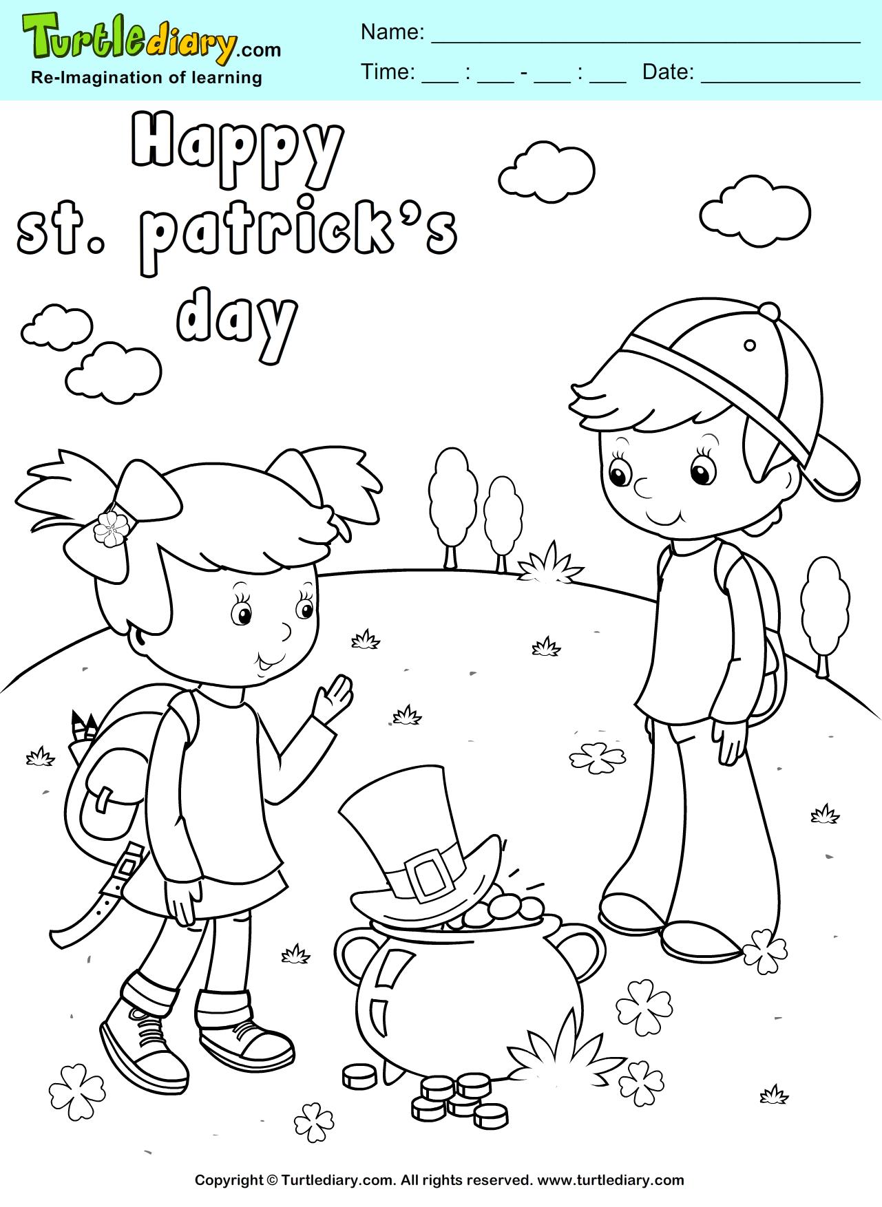 Happy St. Patrick\'s Day Coloring Sheet   St. Pat\'s   Pinterest