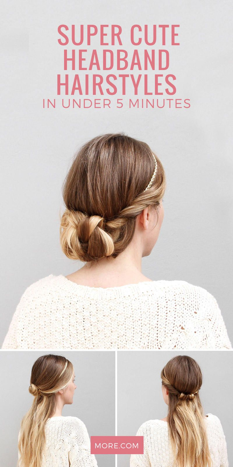 Master These Super Cute Headband Hairstyles In Under 5 Minutes More Headband Hairstyles Cute Headband Hairstyles Hair Styles
