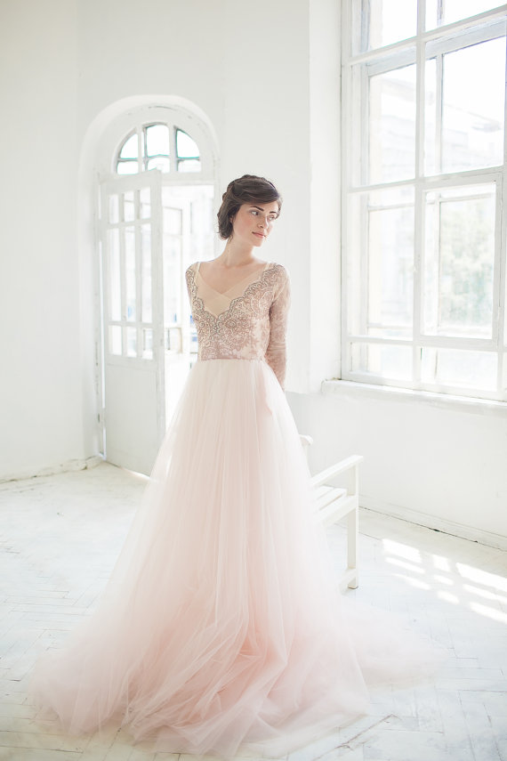 Tulle wedding gown // Orchidee /Blush wedding dress, lace bridal ...