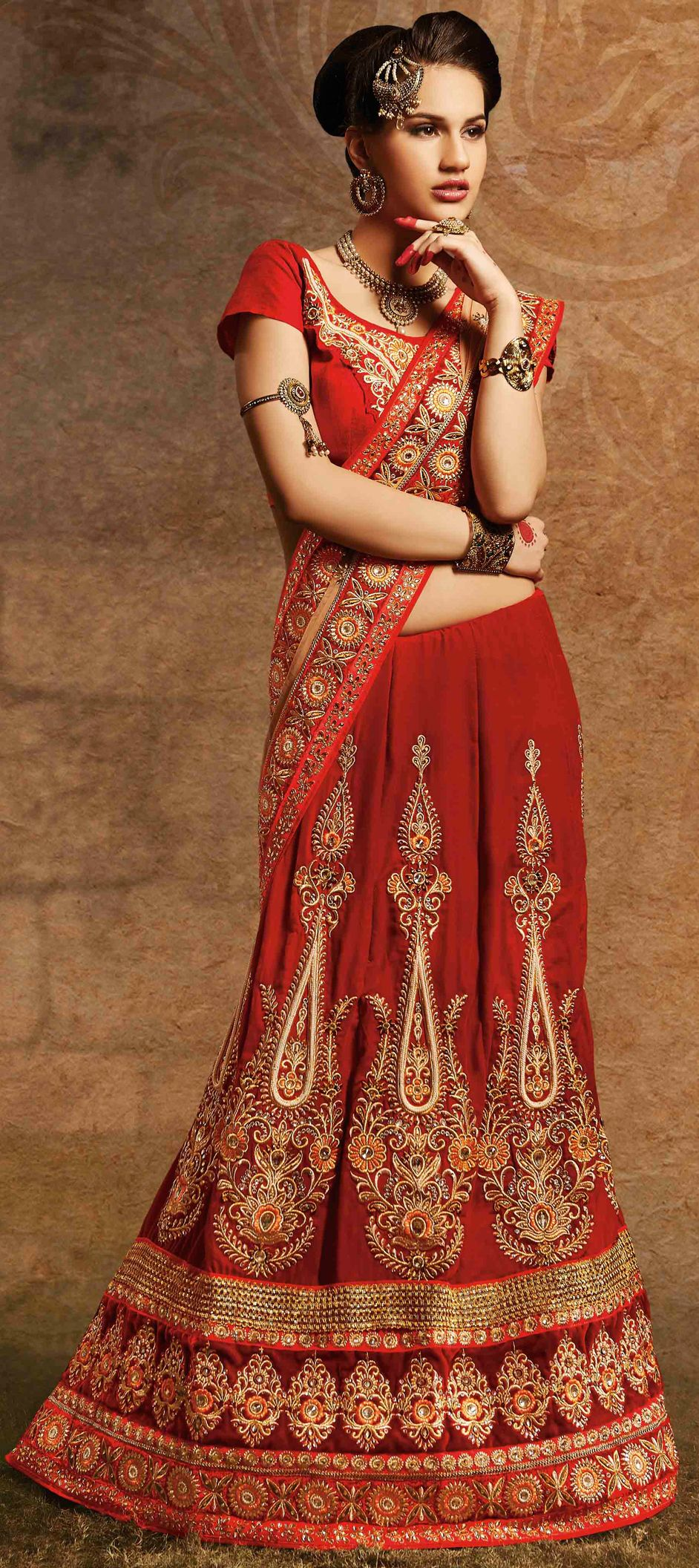 137305: Red and Maroon color family Saree with matching unstitched ...
