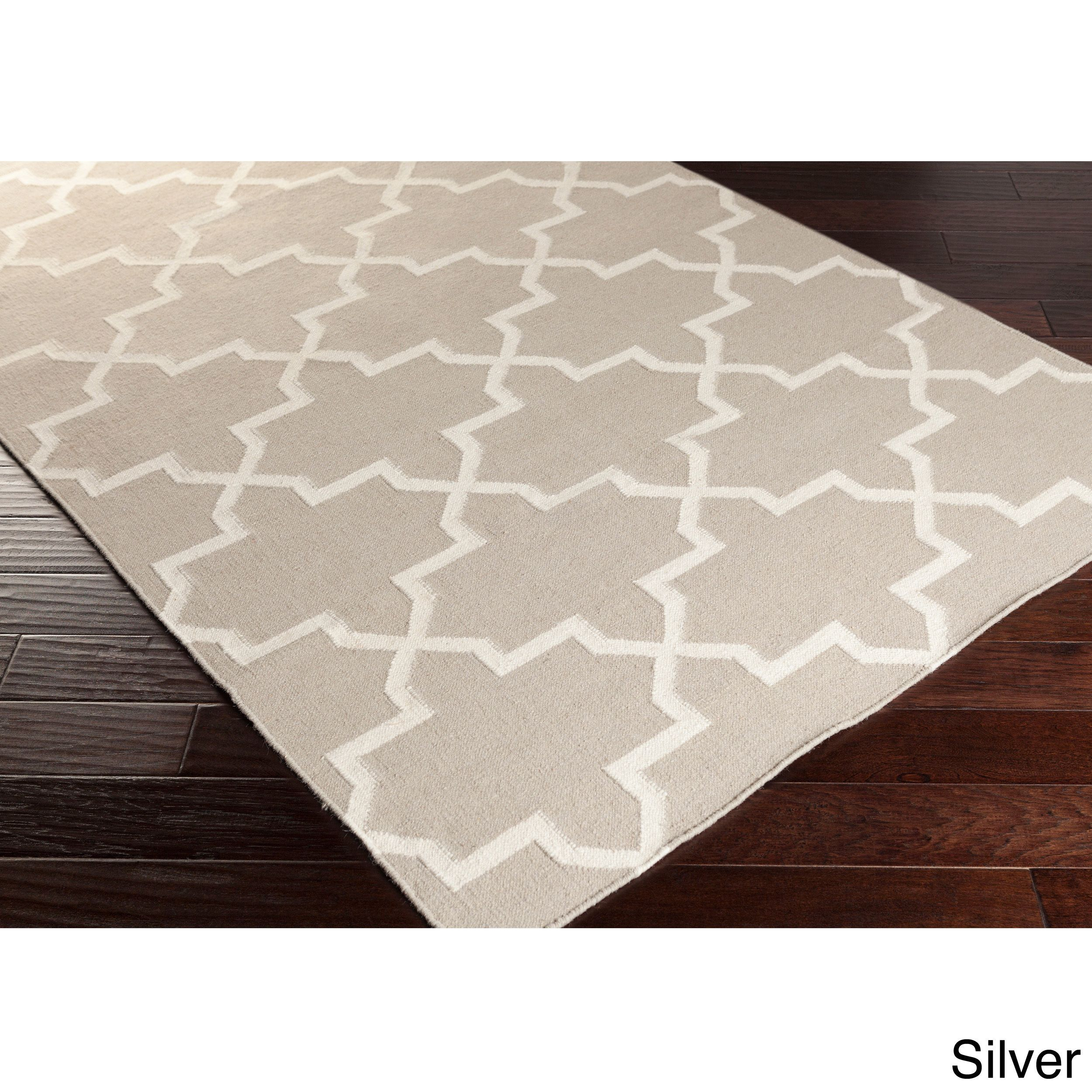 Hand Woven Carlisle Moroccan Tile Reversible Flatweave Wool Rug 4 X 6