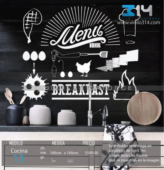 Vinilo 3 14 vinilos decorativos textos frases menu breakfast calcoman as de pared - Decoraciones de restaurantes ...