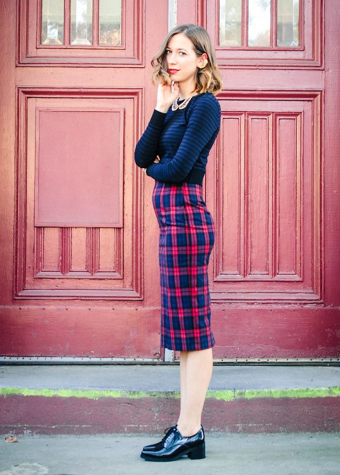 pencil skirt with loafers