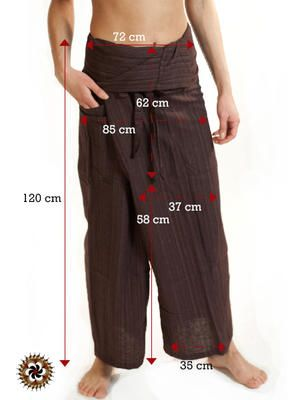 Brown Extra Long Fisherman Pants Line Pattern