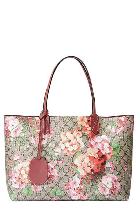 8d1eb01bb44 Gucci Medium GG Blooms Reversible Canvas   Leather Tote