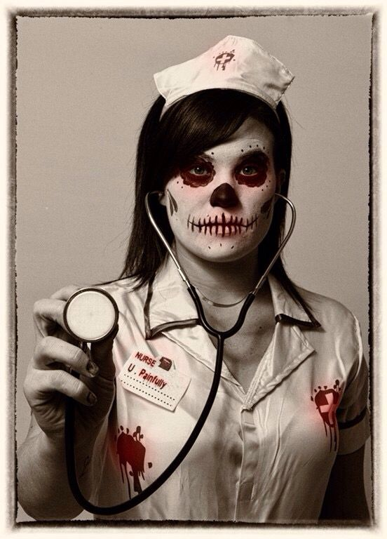 foto de Halloween nurse day of the dead makeup Ghost makeup Halloween nurse