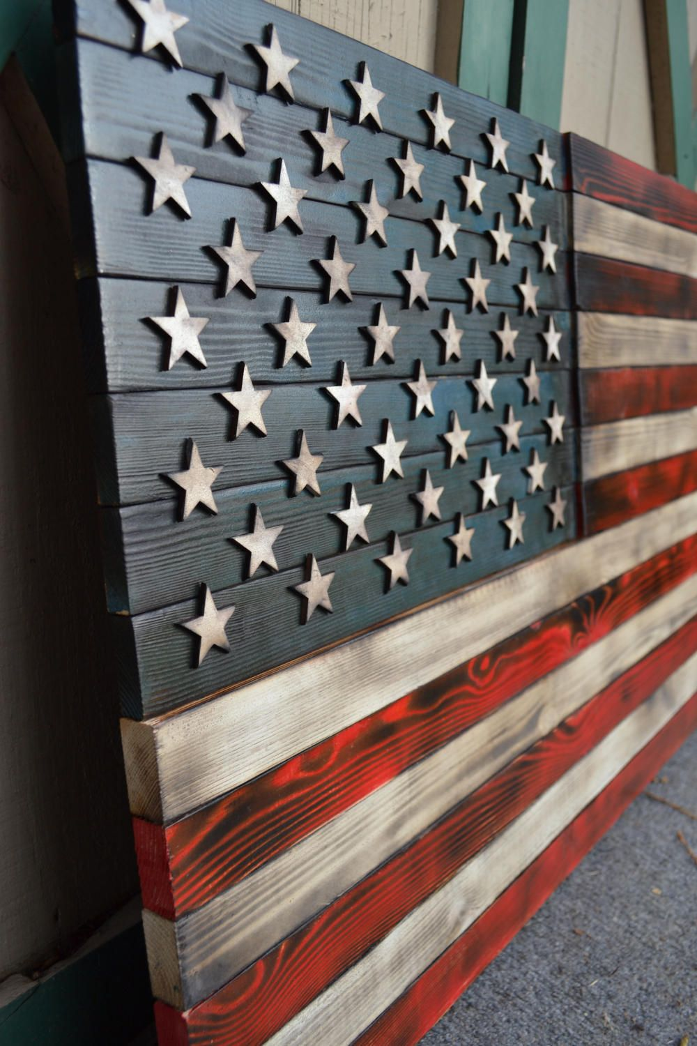 Rustic American Flag Red white and blue flag wooden flag