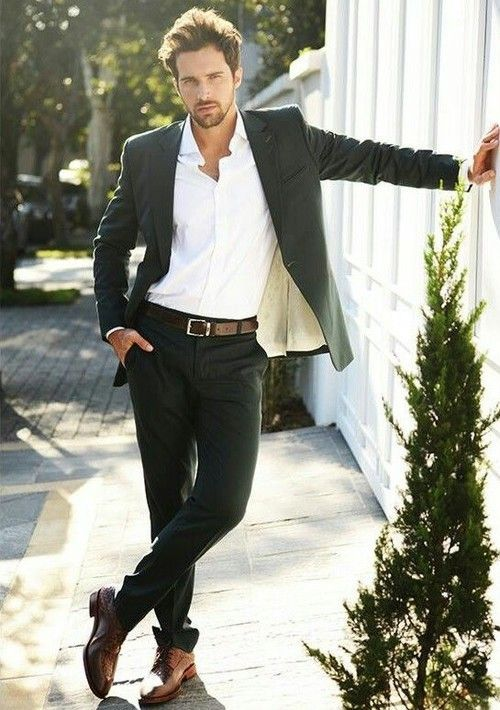 Black Blazer And Suit Pants A Pair Of Brown Leather Derby Shoes Brings The Dressed Down Touch To Ensemble