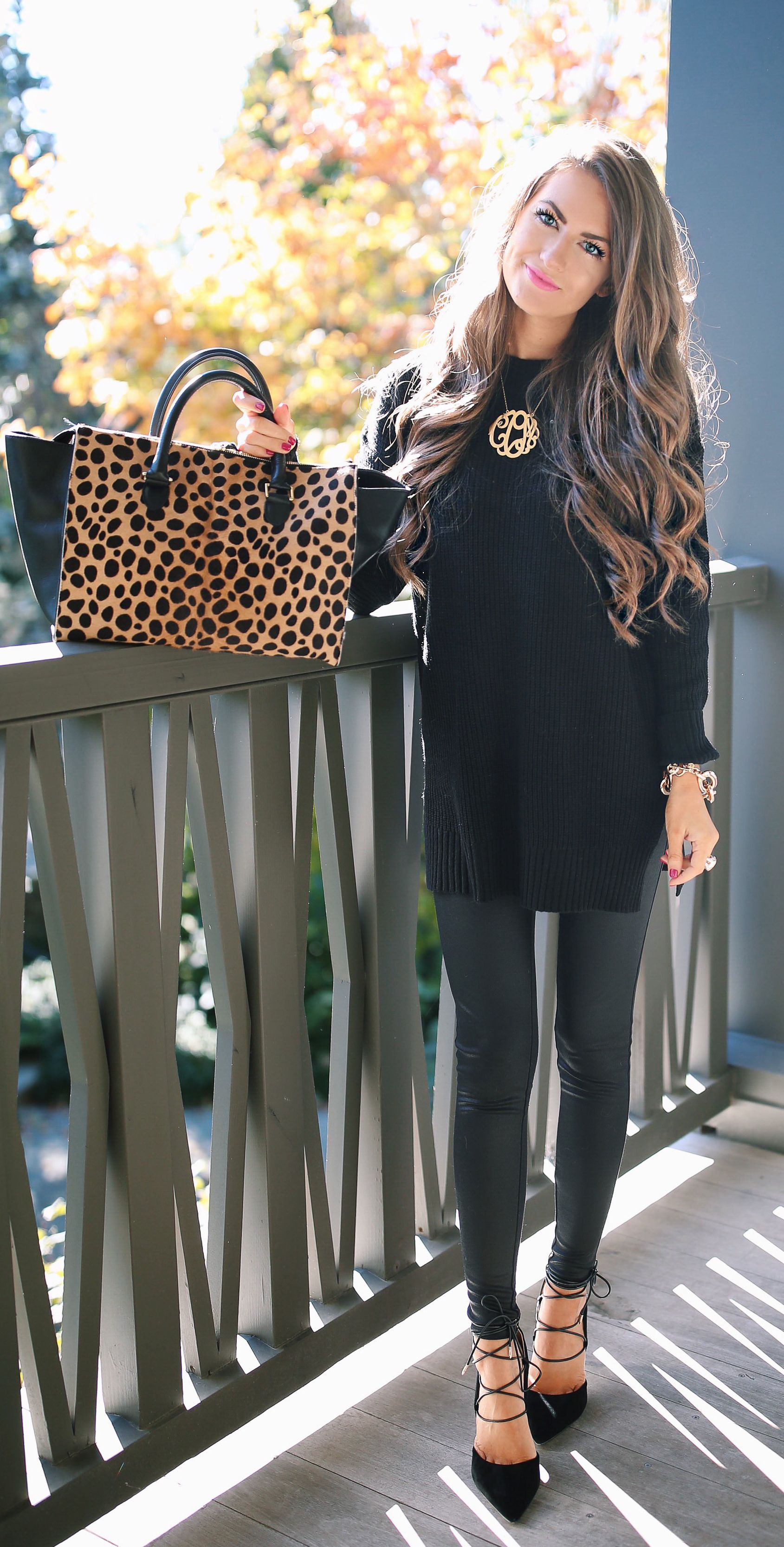 perfect fall outfit - black sweater, faux leather leggings, heels ...