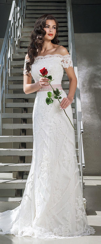 Glamorous tulle offtheshoulder neckline sheath wedding dresses