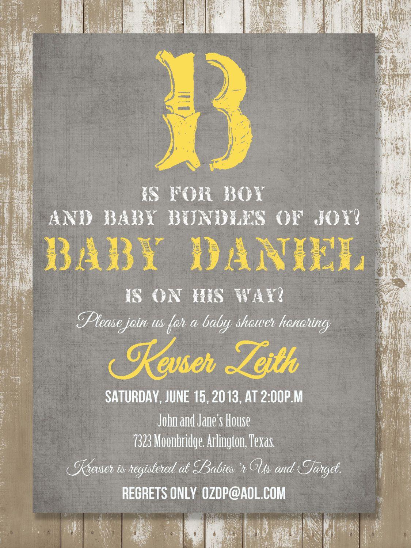 B is for Boy Vintage Baby Shower Invitation by StyleMeShabbyChic ...