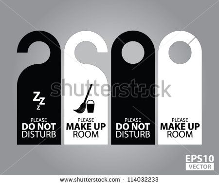 Two Side Black And White Door Hanger Tags For Room In Hotel Or - Hotel door hanger template