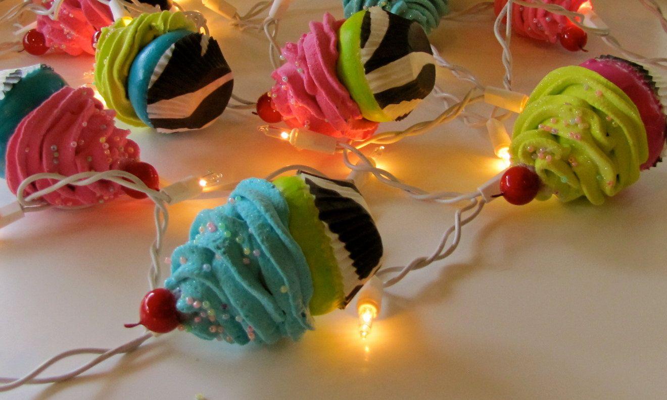 Fake Cupcake Zebra Cupcake Lovers String Of Lights 12 Legs