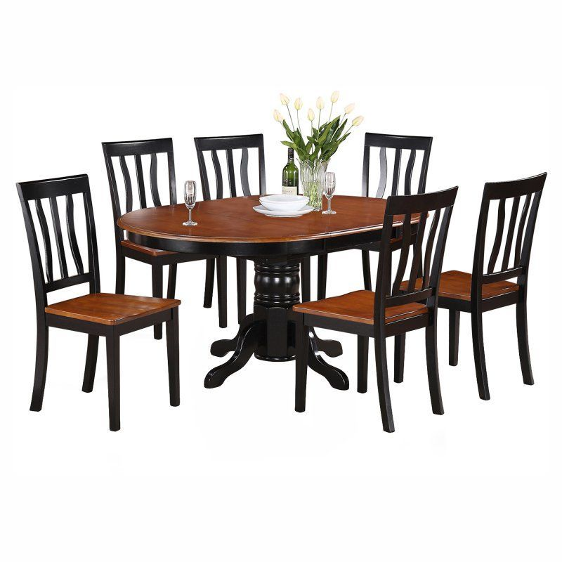 East West Furniture Avon 7 Piece Pedestal Oval Dining Table Set With Antique Wooden Seat Chairs