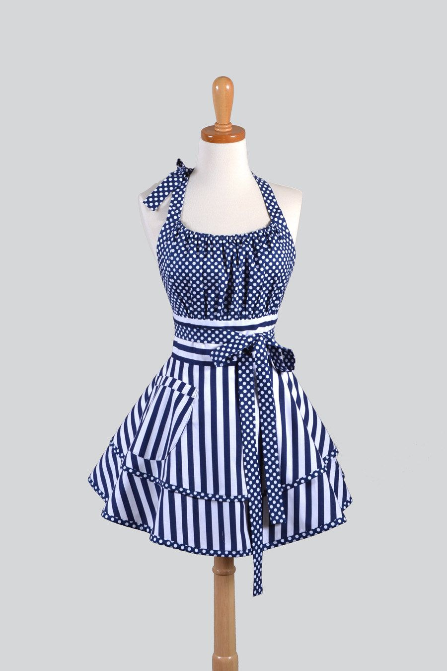 Flirty Chic Womens Kitchen A In Navy Blue Stripes And Dots By Creativechics On Etsy