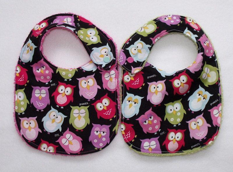 2 Sweet funky little owl bibs twin girls baby shower gift