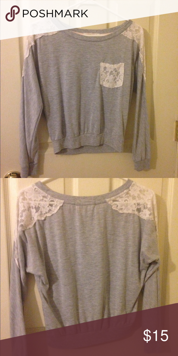 Long sleeve lace shoulder sweater Light used. Gray sweater with flattering lace shoulders. Very comfy! Sweaters Crew & Scoop Necks