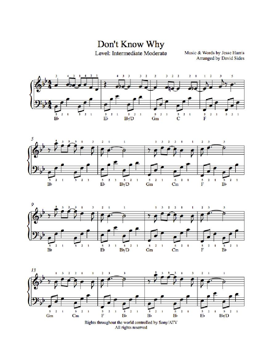 Don't Know Why by Norah Jones Piano Sheet Music | Intermediate ...